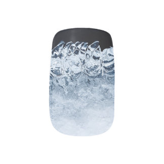 Ice, snow and moving water minx nail art