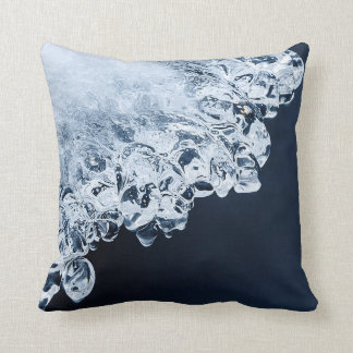 Ice, snow and moving water throw pillow