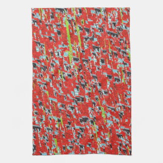 Ice Storm Red Abstract Geometric Pattern Kitchen Towel