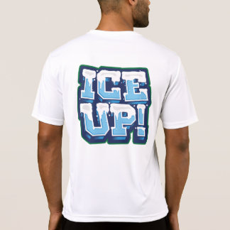 Ice up on Back White Polyester Wick Fabric T-Shirt
