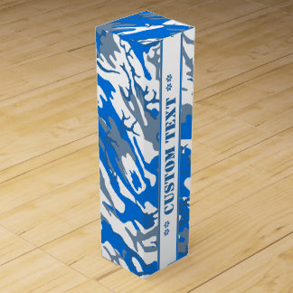 Ice Water Blue Camo w/ Custom Text Wine Boxes