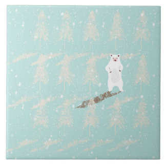 Icebear in snow forest tile