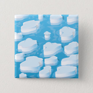 Icebergs 2 Inch Square Button