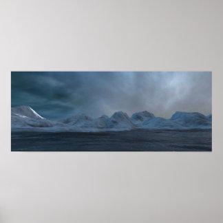 Icebergs in the arctic sea poster