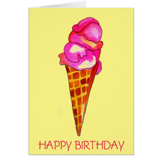 icecream gelato cute food art birthday card
