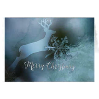 Iced Blue Merry Christmas Greeting Card