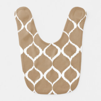 Iced Coffee Geometric Ikat Tribal Print Pattern Bib