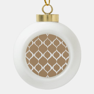 Iced Coffee Geometric Ikat Tribal Print Pattern Ceramic Ball Christmas Ornament