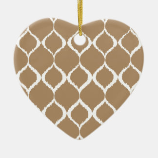 Iced Coffee Geometric Ikat Tribal Print Pattern Ceramic Heart Ornament