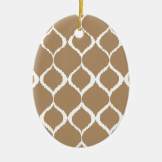 Iced Coffee Geometric Ikat Tribal Print Pattern Ceramic Ornament