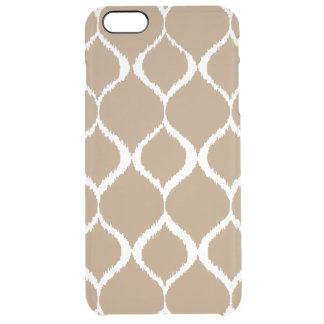 Iced Coffee Geometric Ikat Tribal Print Pattern Clear iPhone 6 Plus Case