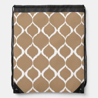 Iced Coffee Geometric Ikat Tribal Print Pattern Drawstring Bag