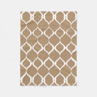 Iced Coffee Geometric Ikat Tribal Print Pattern Fleece Blanket