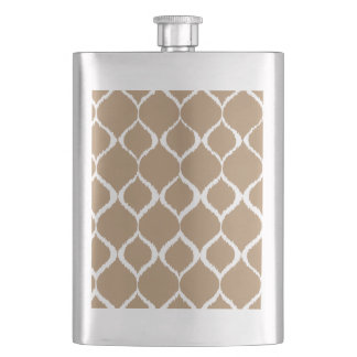 Iced Coffee Geometric Ikat Tribal Print Pattern Hip Flask