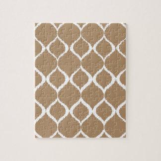 Iced Coffee Geometric Ikat Tribal Print Pattern Jigsaw Puzzle