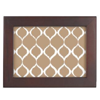 Iced Coffee Geometric Ikat Tribal Print Pattern Keepsake Box
