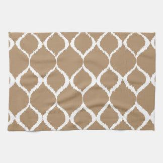 Iced Coffee Geometric Ikat Tribal Print Pattern Kitchen Towels