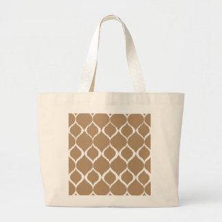 Iced Coffee Geometric Ikat Tribal Print Pattern Large Tote Bag