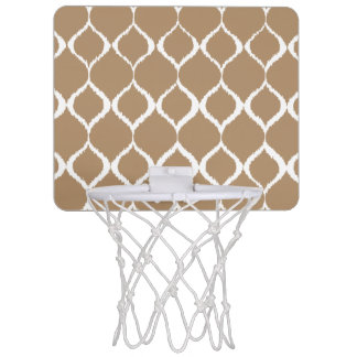 Iced Coffee Geometric Ikat Tribal Print Pattern Mini Basketball Backboard