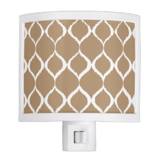 Iced Coffee Geometric Ikat Tribal Print Pattern Nite Lite