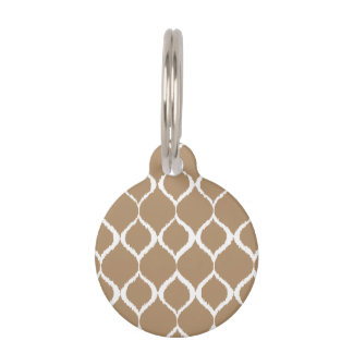 Iced Coffee Geometric Ikat Tribal Print Pattern Pet ID Tag