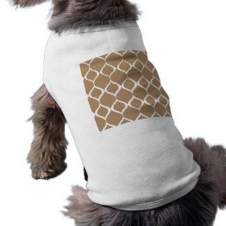 Iced Coffee Geometric Ikat Tribal Print Pattern Pet T-shirt