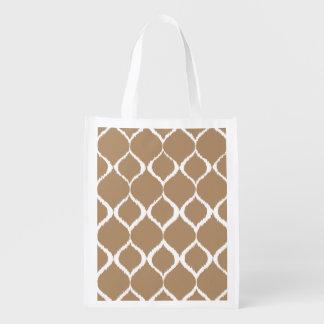 Iced Coffee Geometric Ikat Tribal Print Pattern Reusable Grocery Bag