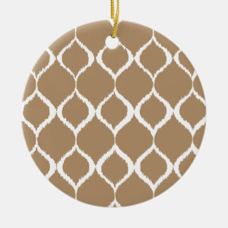 Iced Coffee Geometric Ikat Tribal Print Pattern Round Ceramic Ornament