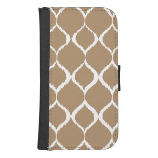 Iced Coffee Geometric Ikat Tribal Print Pattern Samsung S4 Wallet Case
