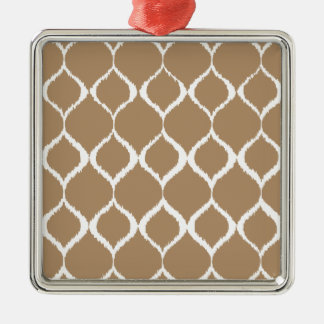 Iced Coffee Geometric Ikat Tribal Print Pattern Silver-Colored Square Ornament