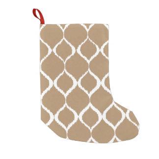 Iced Coffee Geometric Ikat Tribal Print Pattern Small Christmas Stocking