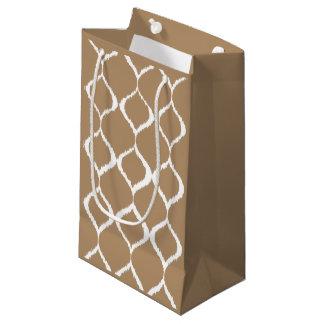 Iced Coffee Geometric Ikat Tribal Print Pattern Small Gift Bag