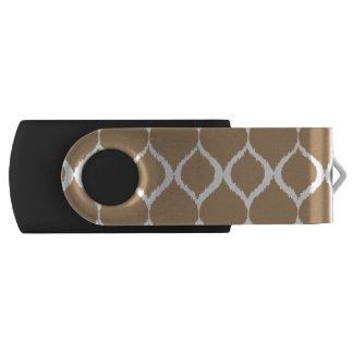 Iced Coffee Geometric Ikat Tribal Print Pattern Swivel USB 2.0 Flash Drive