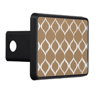 Iced Coffee Geometric Ikat Tribal Print Pattern Trailer Hitch Cover