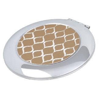 Iced Coffee Geometric Ikat Tribal Print Pattern Travel Mirror
