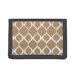 Iced Coffee Geometric Ikat Tribal Print Pattern Trifold Wallets