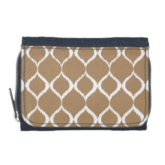 Iced Coffee Geometric Ikat Tribal Print Pattern Wallets