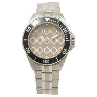 Iced Coffee Geometric Ikat Tribal Print Pattern Watches