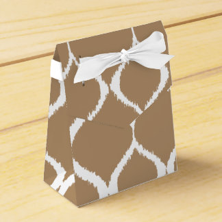 Iced Coffee Geometric Ikat Tribal Print Pattern Wedding Favor Boxes