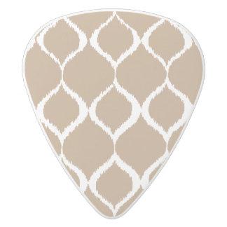 Iced Coffee Geometric Ikat Tribal Print Pattern White Delrin Guitar Pick
