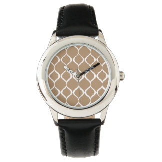 Iced Coffee Geometric Ikat Tribal Print Pattern Wrist Watch