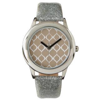 Iced Coffee Geometric Ikat Tribal Print Pattern Wristwatches