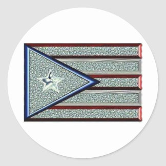 Iced Out Puerto Rican Flag Classic Round Sticker