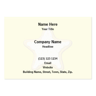Iced Star Cookie. Yellow and Cream. Large Business Card