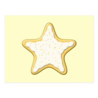 Iced Star Cookie. Yellow and Cream. Postcard