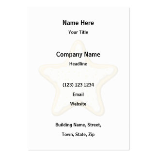 Iced Star Cookie. Yellow and White. Large Business Cards (Pack Of 100)