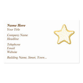 Iced Star Cookie. Yellow and White. Double-Sided Standard Business Cards (Pack Of 100)
