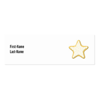 Iced Star Cookie. Yellow and White. Double-Sided Mini Business Cards (Pack Of 20)