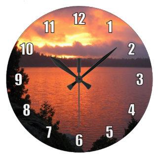 Icehouse Reservoir Sunset Large Clock