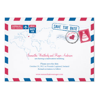 Iceland Air Mail Wedding Save The Date Card
